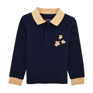 Boys Polos Solid - Polo long sleeves, Navy front