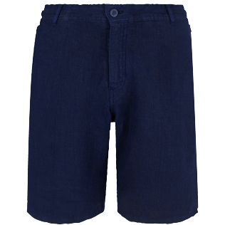 Men Others Solid - Men straight Linen Bermuda Shorts Solid, Navy front
