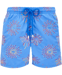 Men Classic Embroidered - Men Swimwear Embroidered Fireworks - Limited Edition, Sea blue front