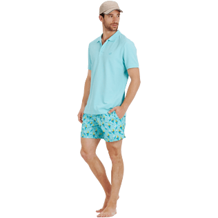 Men Others Solid - Men Cotton pique Polo Shirt Solid, Lagoon supp2