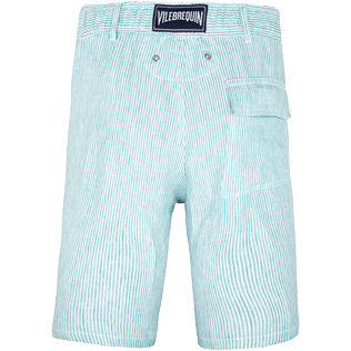 Men Shorts Graphic - Men Straight Linen Bermuda Shorts Micro Stripes, Veronese green back