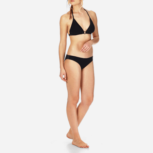 Women Bottoms Solid - Smoking Cut bikini bottom, Black frontworn