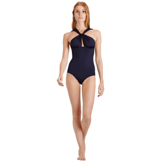 Women One piece Solid - Women Draped One piece Swimsuit Solid, Black frontworn