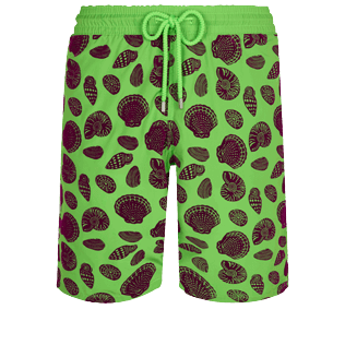 Men Long classic Printed - Men Long Ultra-light and packable Swimwear Shell Game Flocked, Neon green front