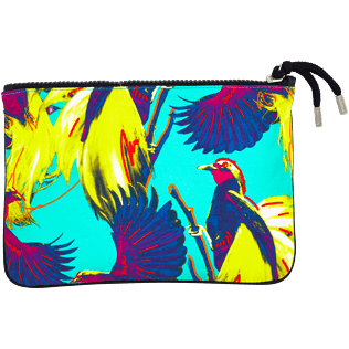 Others Printed - Zipped Cotton Beach pouch Birds of Paradise, Veronese green back