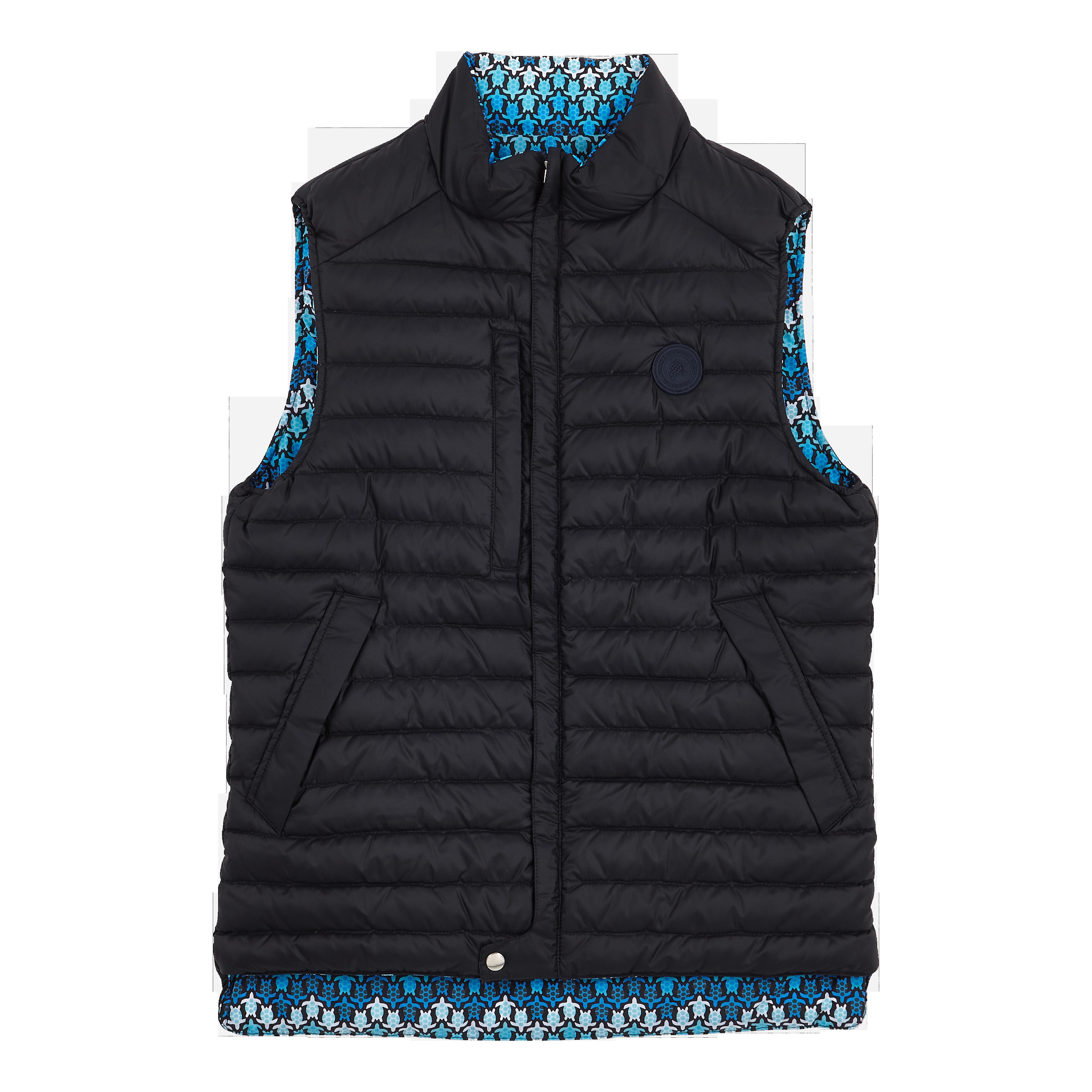 Vilebrequin Unisex Sleeveless Down Jacket Herringbones Turtles In Blue