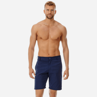 Men Others Solid - Men swimwear fabric straight Bermuda Shorts Solid, Navy frontworn