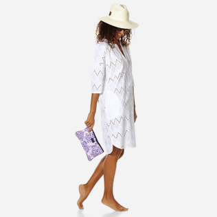 Women Others Embroidered - Women Cotton Beach Cover-up Broderies Anglaises, White supp2