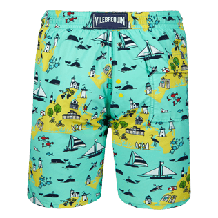 Men Long classic Printed - Men Long Swimwear Martha's Vineyard, Mint back