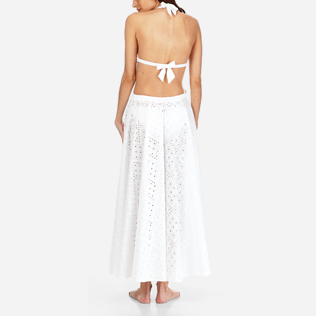Women 014 Embroidered - Women Long Cotton Pareo Skirt Eyelet Embroidery, White backworn