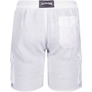 Men Shorts Solid - Solid Cargo linen bermuda shorts, White back