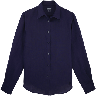 Women Others Solid - Women long sleeves Linen Shirt Solid, Navy front