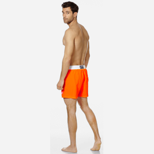 Men Ultra-light classique Solid - Men Swim Trunks Ultra-Light and Packable Solid Bicolore Fluo, Neon orange backworn
