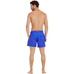 Men Classic Printed - Men Swimwear Cabines de plage, Royal blue backworn