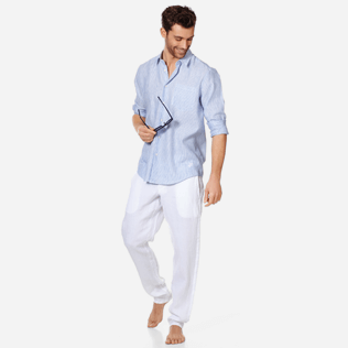 Men Others Graphic - Stripped Linen shirt, Sky blue supp2
