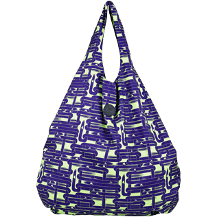 Bags Printed - Oversize Lightweight Foldable Bag Eels Knitting, Wasabi front