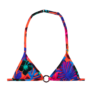 Girls Others Printed - Girls triangle bikini Top Porto Rico, Bright orange front