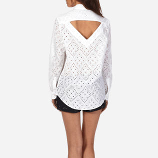 Women Others Embroidered - Women Halter Cotton Shirt Eyelet Embroidery, White supp2