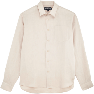 Men Others Solid - Men Linen Shirt Solid, Chalk front