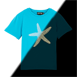 Men Tee-Shirts Printed - Glow in the dark Starlettes Round neck T-Shirt in Jersey cotton, Azure front