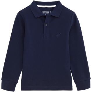 Boys Polos Solid - Solid Long sleeves Cotton pique polo, Navy front