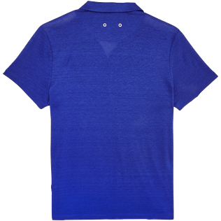 Men Polos Solid - Men Linen Jersey Polo shirt Solid, Neptune blue back