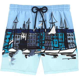Men Classic / Moorea Printed - Le Port Swim shorts, Frosted blue front
