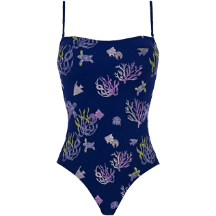 Women One piece Embroidered - Women One Piece Swimsuit Embroidered Bustier Coral and Turtles, Midnight blue front