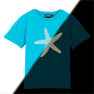 Boys Tee-Shirts Printed - Glow in the dark Starlettes Round neck Tee Shirt, Azure frontworn