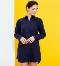 Women Others Solid - Women Long Linen Shirt Solid, Navy frontworn