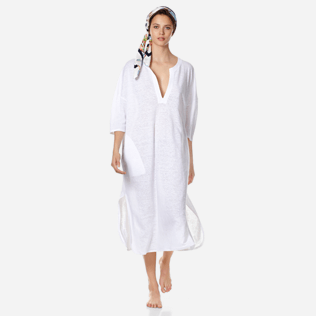Women Others Solid - Women Long linen jersey Tunic Dress Solid, White supp2