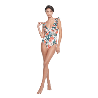 Women Underwire Printed - Women One piece Swimsuit Tropical Blooms, White frontworn