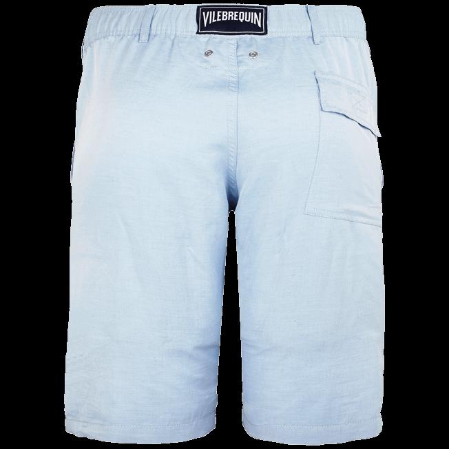 Vilebrequin - Men Straight Linen Cotton Bermuda Shorts Solid - 2