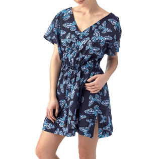 Women Dresses Printed - Butterflies Cover-up V Neck, Navy frontworn