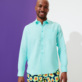 Men Others Solid - Men Linen Shirt Solid, Lagoon frontworn