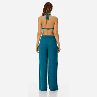 Women Others Solid - Women flowing Linen Pants Solid, Pine wood backworn