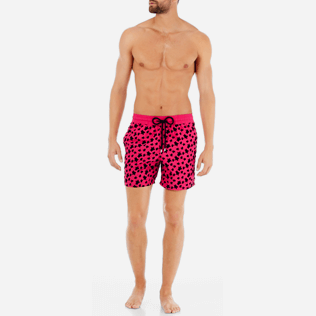 Men Classic Printed - Men Swimtrunks Flocked Micro ronde des tortues, Shocking pink frontworn