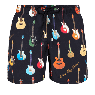 Men Classic Printed - Men Swimwear Brian May Guitars, Black front