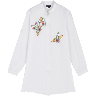 Women Others Embroidered - Women Linen Shirt Dress Go Bananas embroidery, White front