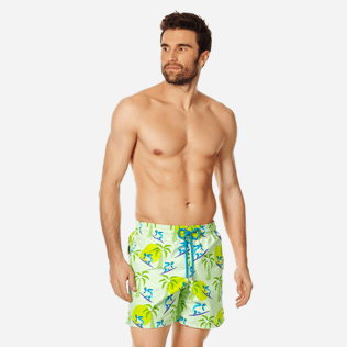 Men Classic Printed - Men Swimwear Surfing Turtles, Aloe frontworn