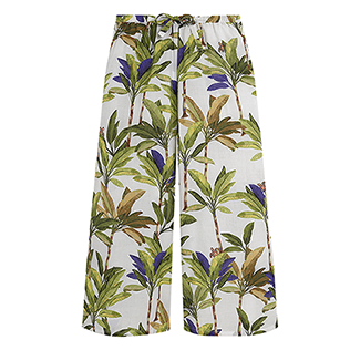 Girls Others Printed - Girls Cotton Pants Palms, White front