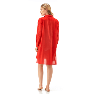 Women Dresses Solid - Solid dress shirt, Poppy red supp2
