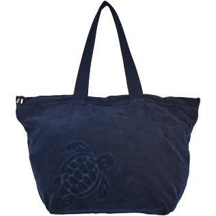Others Solid - Big terry cloth Beach Bag Jacquard Solid, Navy front