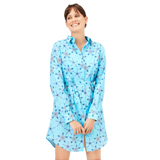 Women Others Printed - Women Cotton Voile Shirt Dress Starfish Dance, Lazulii blue frontworn