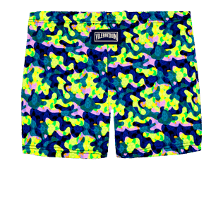 Boys Others Printed - Boys Swim Trunks Boxer Cuts Neo camo Turtles, Neon yellow back