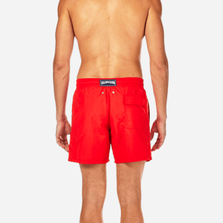 Men Classic / Moorea Embroidered - Primitive Turtle Placed Embroidery Swim shorts, Poppy red supp2