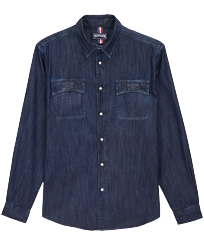 Men Others Solid - Men Coton Western Shirt, Dark denim w1 front