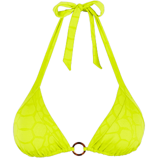 Women Triangle Solid - Women Triangle Bikini Top Turtles Scales, Chartreuse front