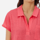 Women Others Solid - Women Linen Polo Shirt Solid, Hibiscus supp1