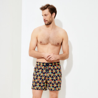 Men Classic / Moorea Embroidered - Men Swim Trunks Embroidered Indian Ceramic - Limited Edition, Sapphire frontworn